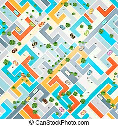 Abstract City Top View. Town with Cars, Trees and People. Vector Illustration.