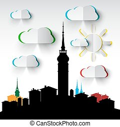 Abstract City Tower - Architecture City View with Vector Paper Cut Clouds and Sun