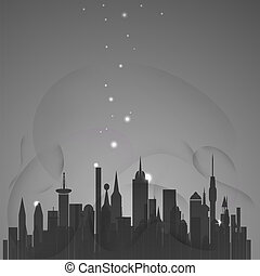 Abstract city with stars