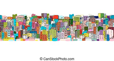 abstract, cityscape, achtergrond, seamless, model, voor,...