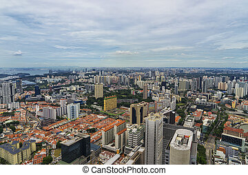 abstract cityscape from rooftop on day time in singapore -...
