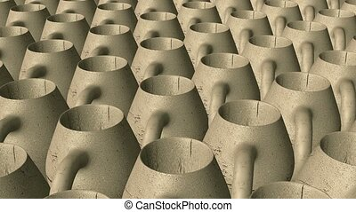 Abstract clay pitchers in rows
