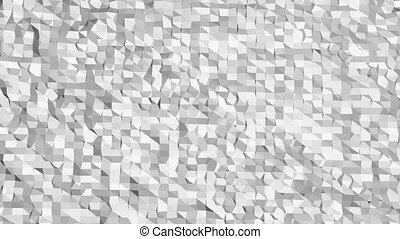 Abstract clean black and white low poly waving 3D surface as molecular background. Grey geometric vibrating environment or pulsating background in cartoon low poly popular stylish 3D design.