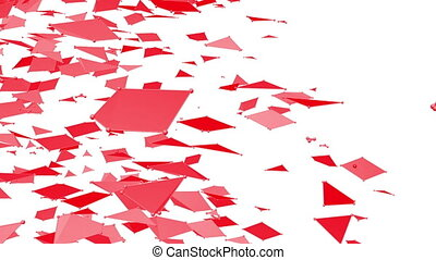 Abstract clean red waving 3D grid or mesh as interesting backdrop. Red geometric vibrating environment or pulsating math background.