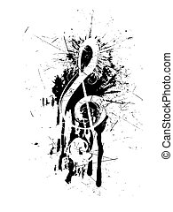 vector illustration of a clef on an abstract grunge background