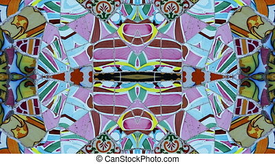 abstract clip made from images of ceramic tiles in the gaudi...