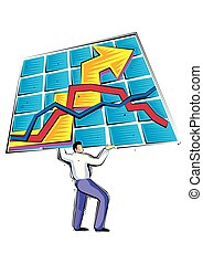 abstract Clipart of Businessman holding a chart