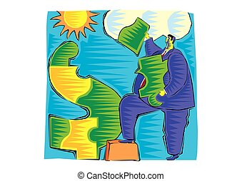 abstract Clipart of Businessmen with a dollar sign