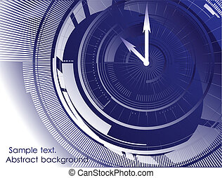 Abstract clock blue background. Vector - Blue background...