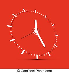Abstract Clock Illustration on Red Background