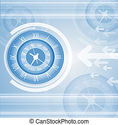 Abstract clock vector and technology background