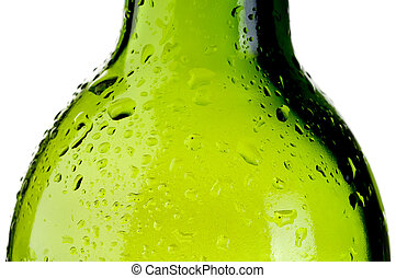 abstract close up of a cold wet green bottle