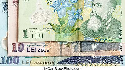 Abstract closeup of romanian curency Leu