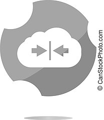 abstract cloud icon. Upload button. Load symbol. Round button