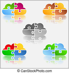 Abstract cloud made of puzzle pieces