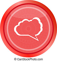 abstract cloud on web icon button isolated on white