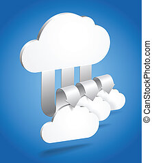 Abstract cloud scheme in perspective. Template for a content