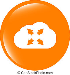 abstract cloud set icon. Upload button. Load symbol. Round button