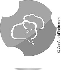 abstract cloud set on web icon button isolated on white