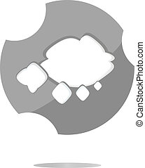 abstract cloud web icon, button isolated on white