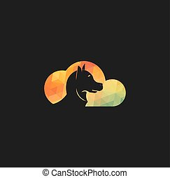 Abstract cloud with dog vector logo design.