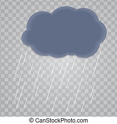 Abstract Cloud with Rain Drops on Transparent Background. Vector