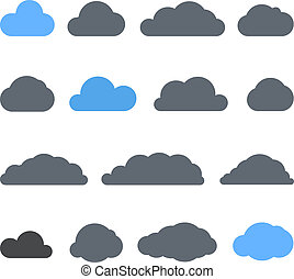 Abstract clouds collection isolated on white