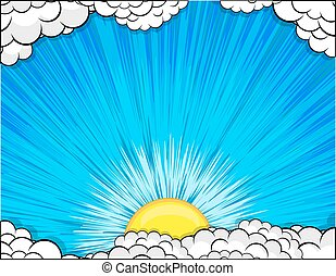 Abstract Clouds Sunburst Background