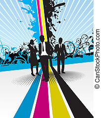 people on a abstract splashed cmyk background
