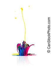 abstract CMYK paint splashing