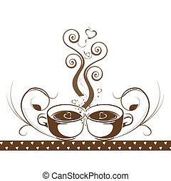 Abstract coffee concept with floral and hearts pattern