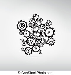 Abstract Cogs, Gears Isolated on Grey Background