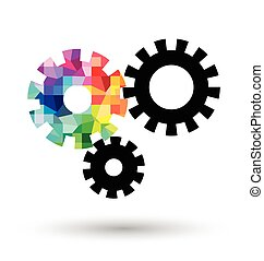 Abstract cogwheel on white background
