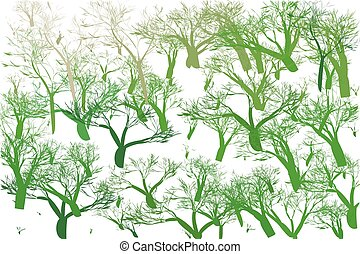 Abstract collection with green tree on white background for web design