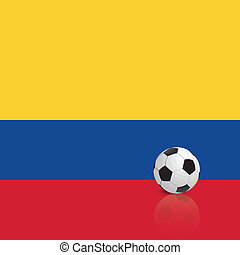 Abstract Colombia flag with a soccer ball