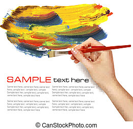 Abstract color background with hand  Vector illustration