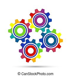 Abstract Color gear beautiful, four pieces gears set icon on background. Vector illustration