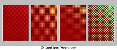 Abstract color halftone dot pattern cover template set - vector stationery background illustration with circles