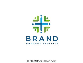 abstract color health community logo