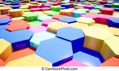 Abstract color hexagon intro for video