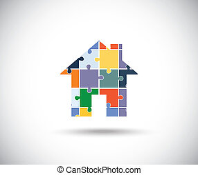Abstract color house