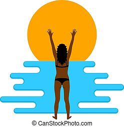 Abstract color image of a young beautiful girl on the beach. Flat simple figure of a girl and waves. Vector illustration