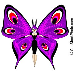 abstract color image of the large purple girl butterfly