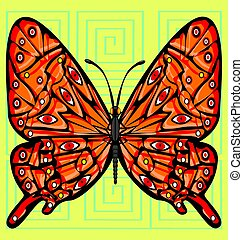 abstract color image of the large red butterfly