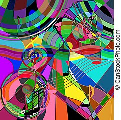 color background and abstract image of the crazy musical chaos