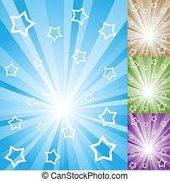 Abstract color light rays with white stars and stripes.