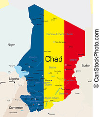 Chad - Abstract color map of Chad country colored by ...