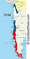 Abstract color map of Chile country colored by national flag