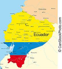 Ecuador - Abstract color map of Ecuador country colored by ...