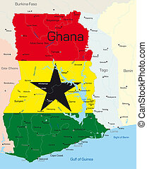 Abstract color map of Ghana country colored by national flag